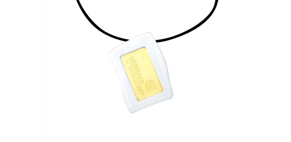 Silver 925 Pendant with 1g Umicore Pure Gold Ingot 999,9